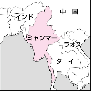 ミャンマー強調地図